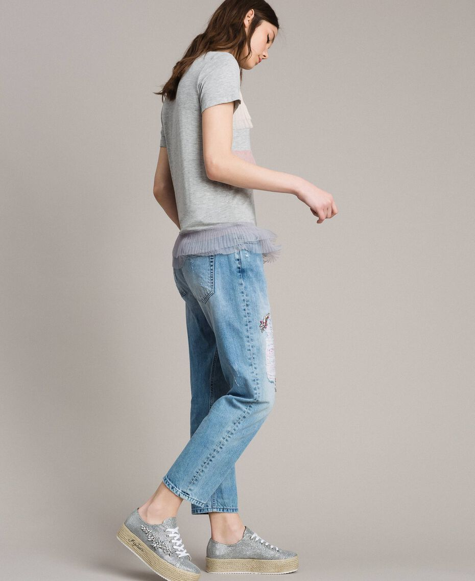 Ripped embroidered girlfriend jeans Denim Blue Woman 191MP2480-02