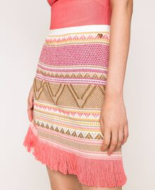 Short skirt with fringes Multicolour Pink Jacquard Woman 201TT3163-04