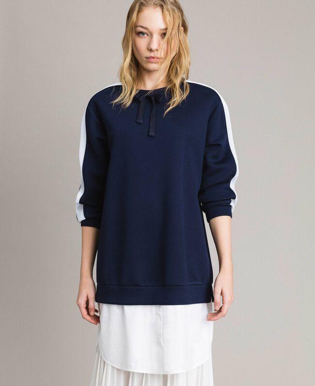 Robe longue plissée en scuba Bicolore Bleu Nuit / Blanc Soie Femme 191TP2066-03