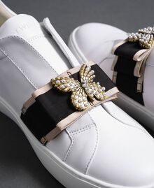 Leather trainers with embroidered band White Woman 192TCP06Q-01
