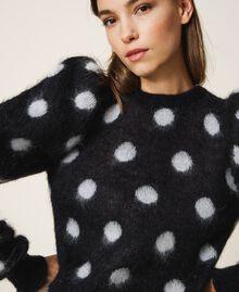 Polka dot jacquard jumper Two-tone Black / Snow White Jacquard Woman 202TT3221-04