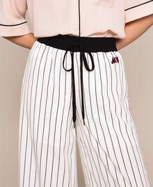 Striped crêpe de Chine trousers Vanilla / Black Stripes Woman 201MP2101-02