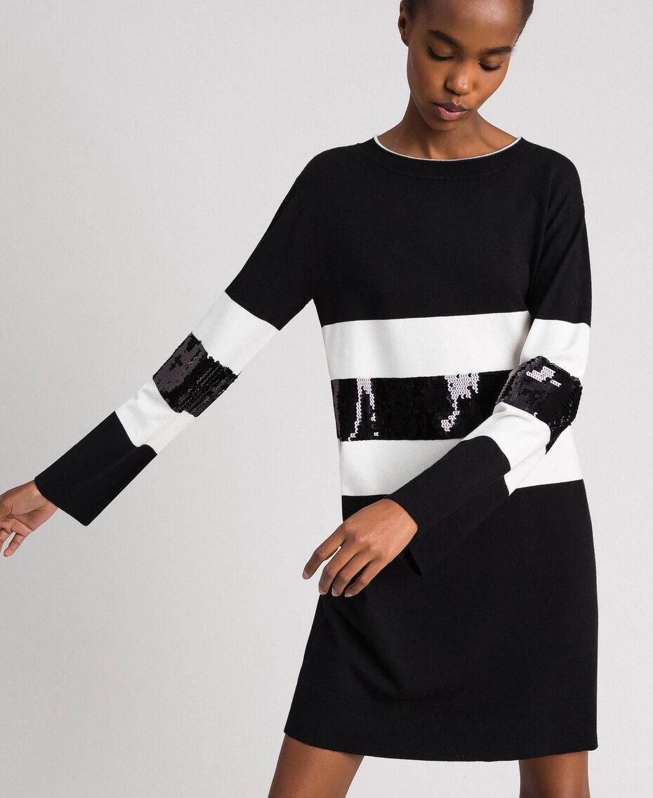 Striped knitted dress with sequins Two-tone Black / Lily Woman 192MT3200-01