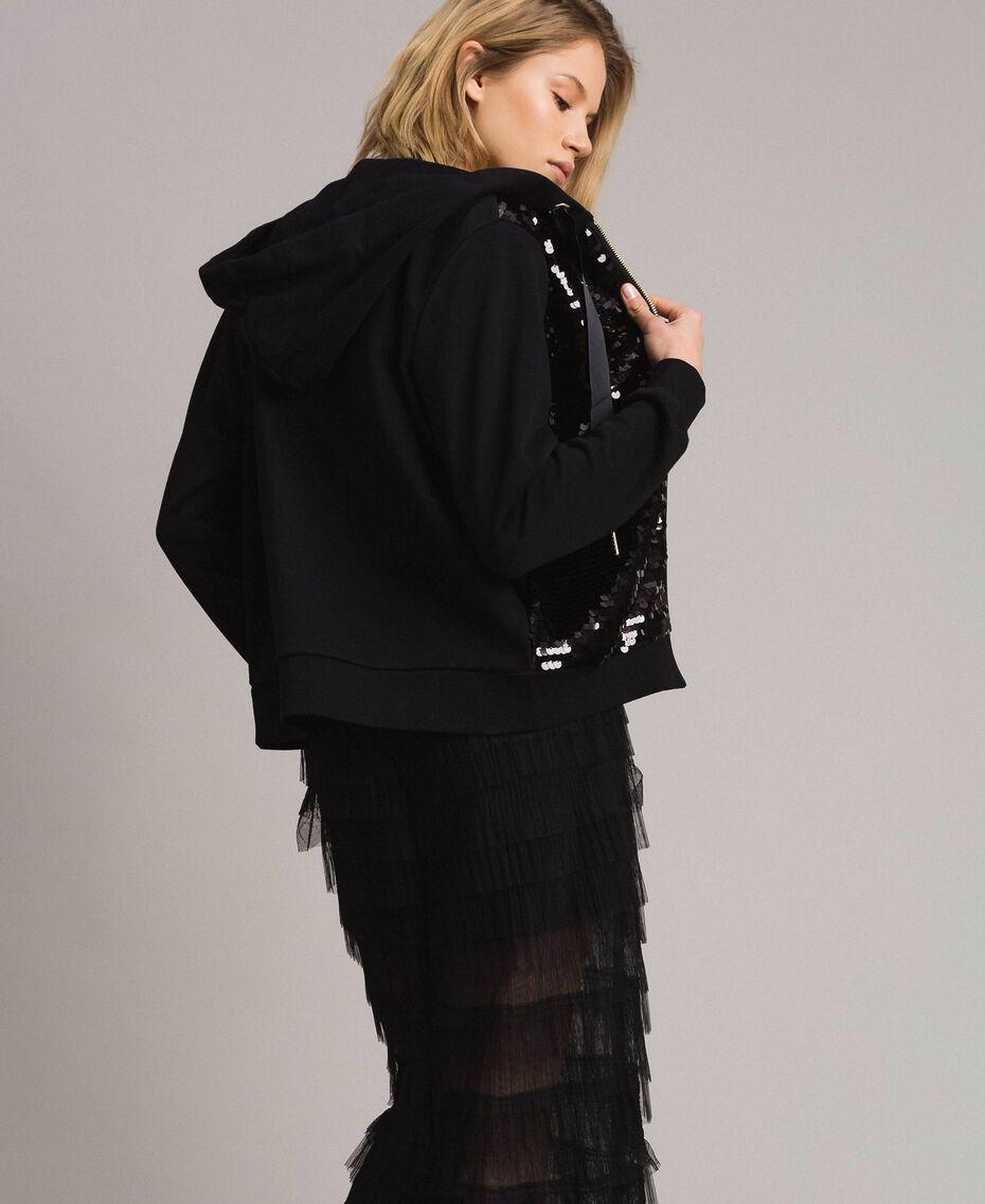 Sweatshirt with hood and sequins Black Woman 191MP2076-03