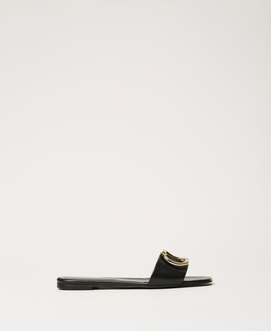 Sandales slide en cuir avec logo Noir Femme 211TCT014-02
