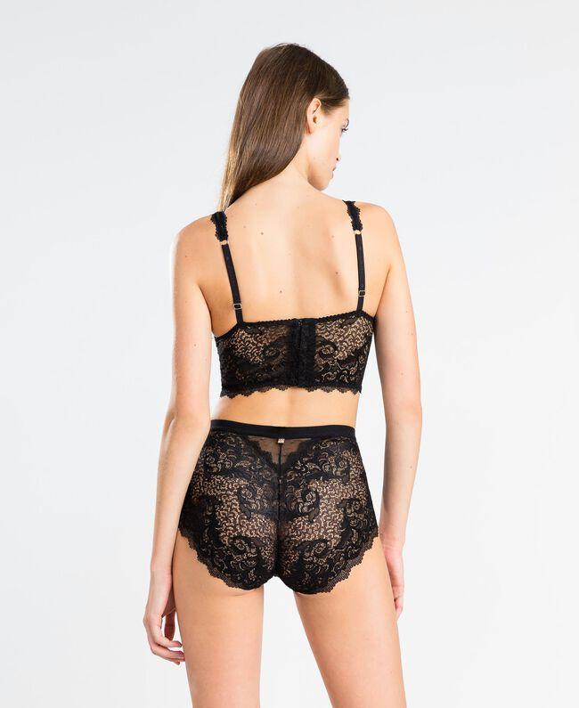 Tulle plumetis and lace high-waist briefs Black Woman LA8A99-03