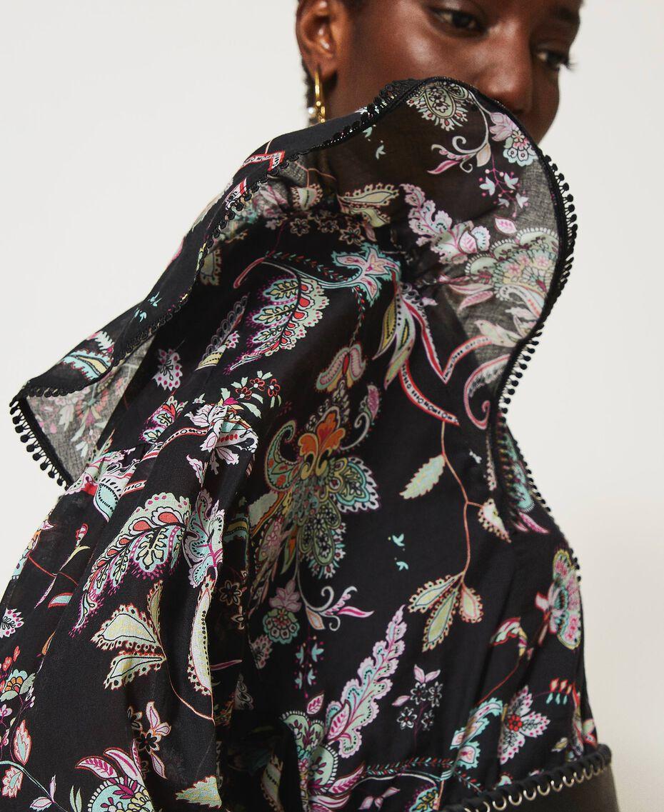 Blouse en mousseline avec imprimé floral Imprimé Fleur Indienne Noir Femme 211TT2563-01