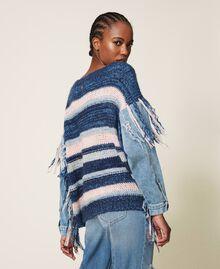 Трикотажная кофта с джинсовыми рукавами Разноцветный Смешанный Синий Трикотаж / Светлый Деним женщина 202MP3466-03