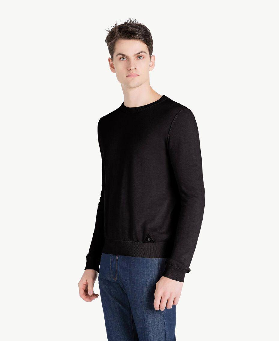 Pullover aus Baumwolle und Kaschmir Schwarz Mann US831B-02