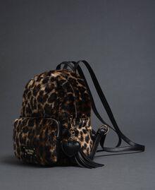 Sac à dos en fausse fourrure avec imprimé animalier Animalier Femme 192MA7032-01