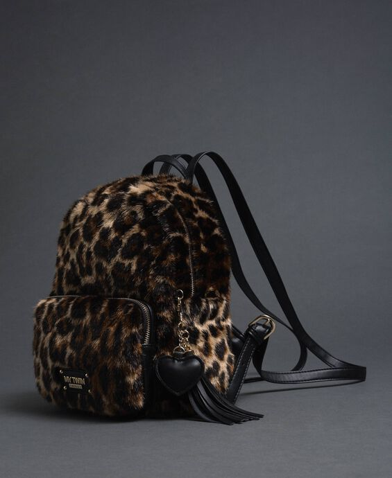 Faux fur backpack with animal print