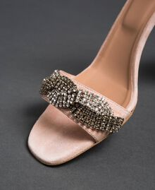"Suede sandals with rhinestones ""Nude"" Beige Woman 192TCP12C-05"
