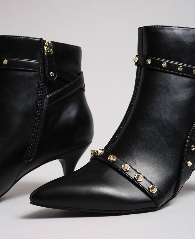 Faux leather ankle boots with studs Black Woman 192MCT050-04