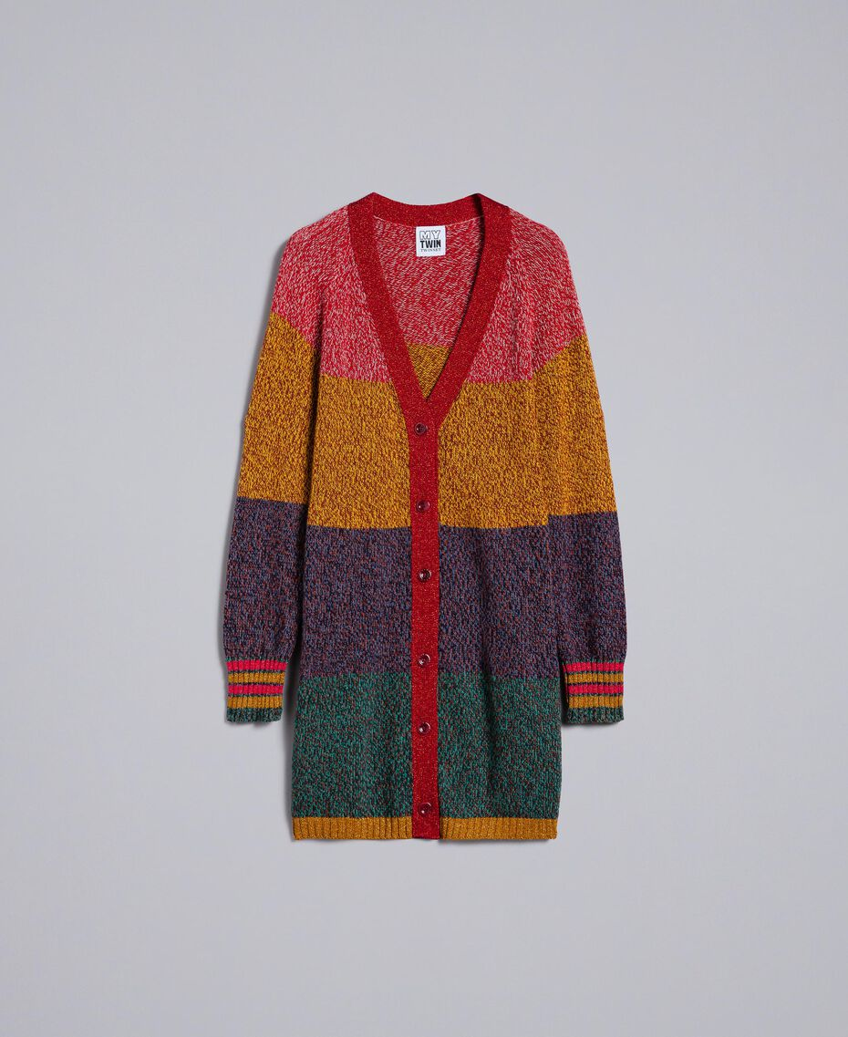 Maxi cardigan mouliné en color block Multicolore Mouliné Femme YA831A-0S