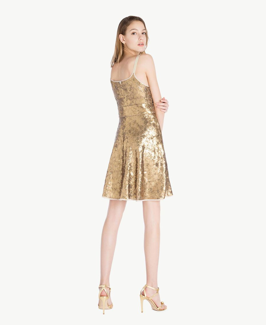 All over sequin dress Gold Yellow Woman TS82ET-03
