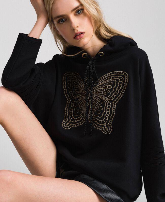 Butterfly embroidery sweatshirt Black Woman 192TT2133-04