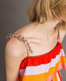 Mehrfarbig gestreiftes Popeline-Top Multicolour Motiv Keramikblau Frau 191TT2410-04