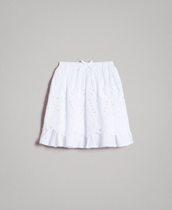 Muslin skirt with broderie anglaise embroidery