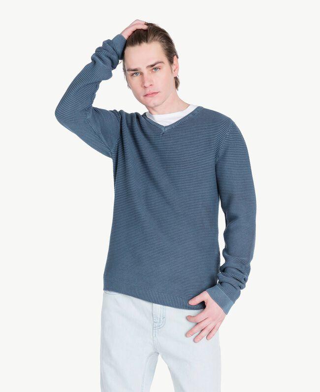 Pullover aus Baumwolle Blackout Stone Blau Mann US833Q-01