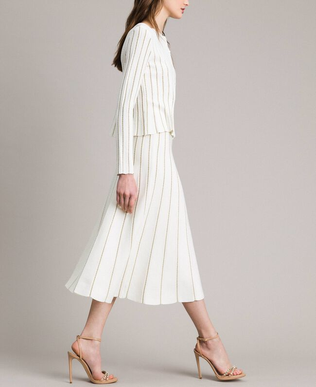 Mid-length skirt with lurex stripes White Snow Woman 191TP3253-01
