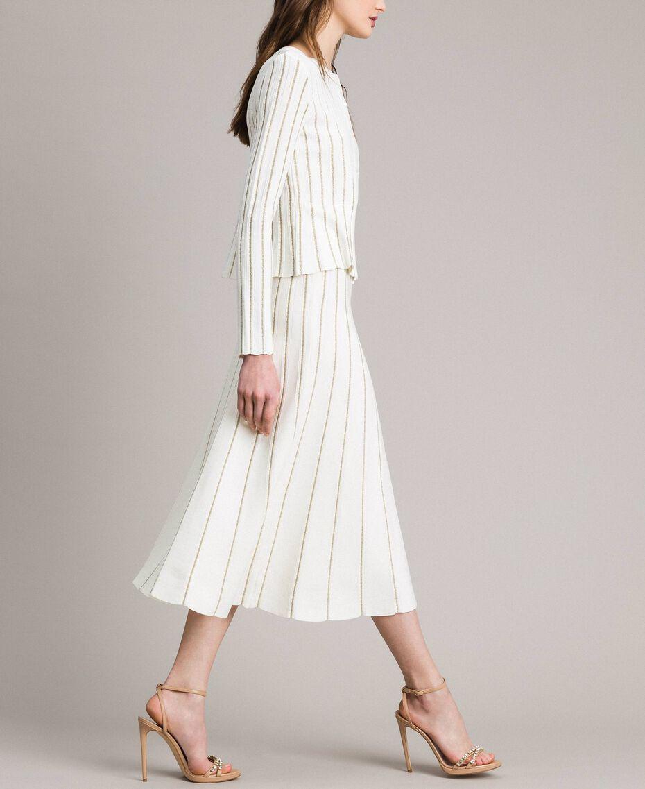 Jupe mi-longue ornée de bandes en lurex Blanc Neige Femme 191TP3253-01