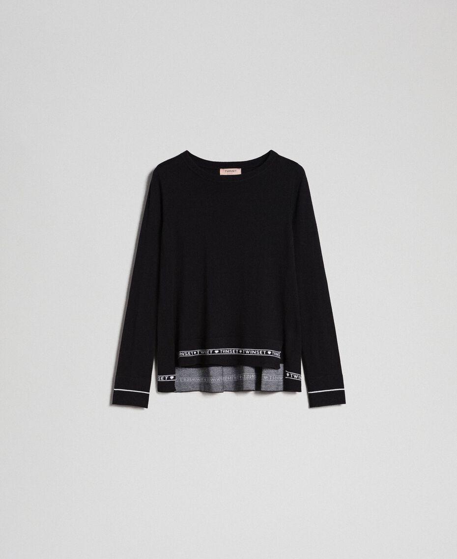 Pullover aus Seide und Kaschmir mit Logos Schwarz Frau 192TP3151-0S