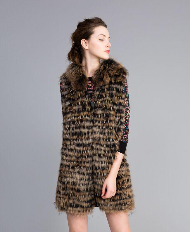 Gilet tricoté en fourrure Bicolore Noir / Camel Femme PA82LD-01