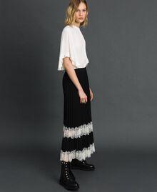 Pantalon palazzo avec dentelle Bicolore Noir / Blanc Neige Femme 192TP2283-03