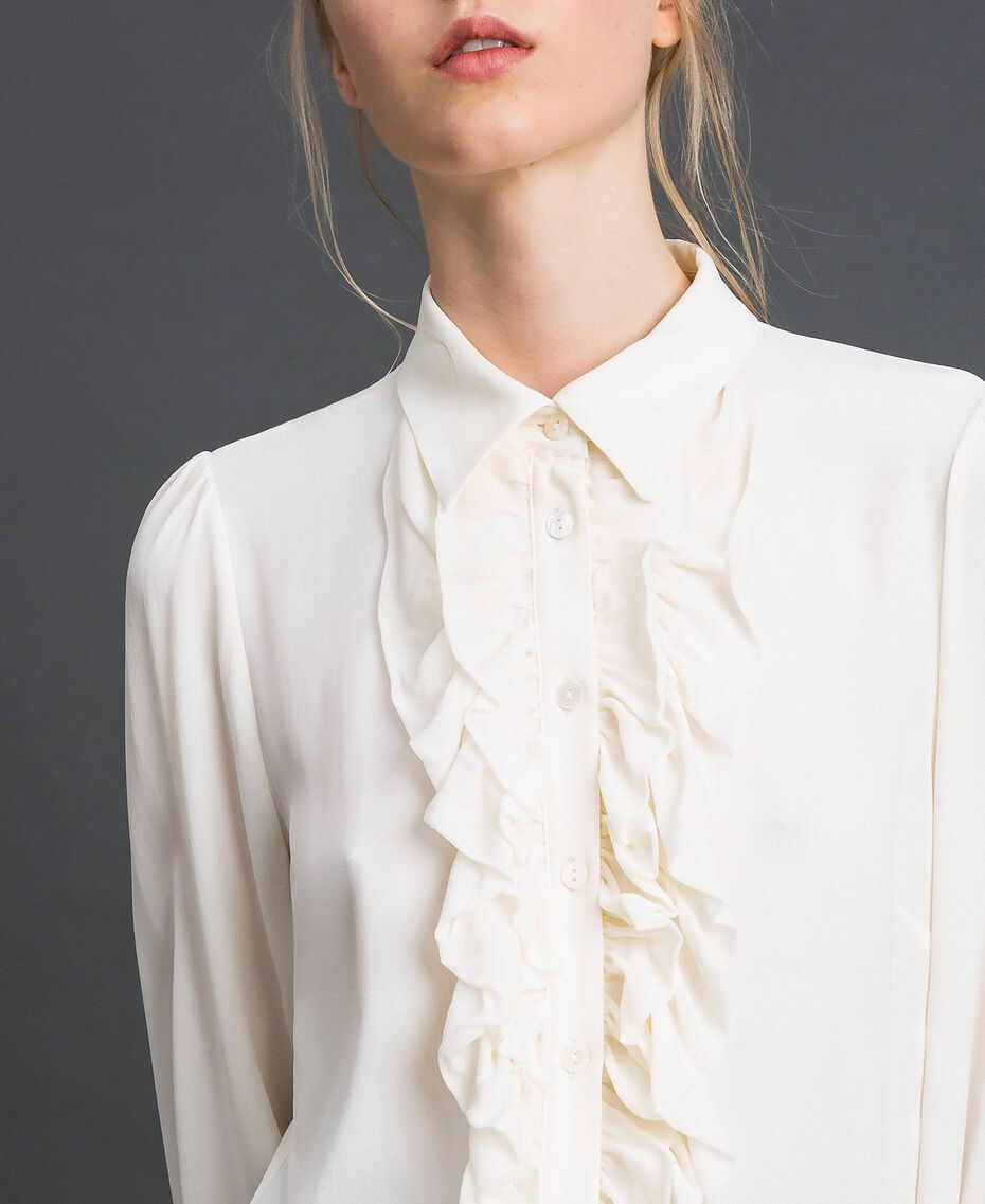Crêpe de Chine shirt with frills White Snow Woman 192TT2431-06