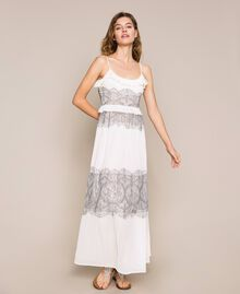 Pleated dress with two-tone lace White Snow Woman 201TT2143-02