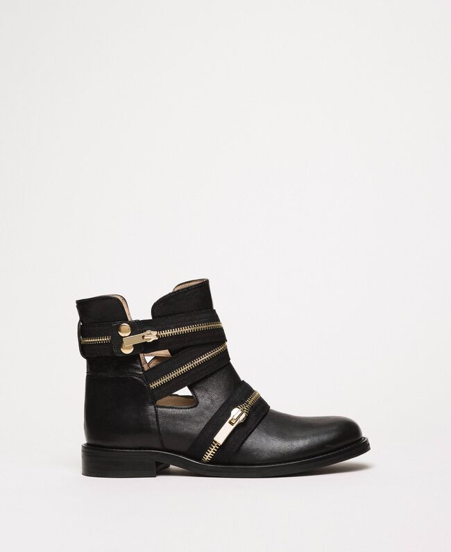 Leather biker boots with zip Black Woman 201TCP104-01