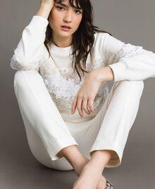 "Milan stitch  flared trousers ""Silk"" White Woman 191TP2424-01"