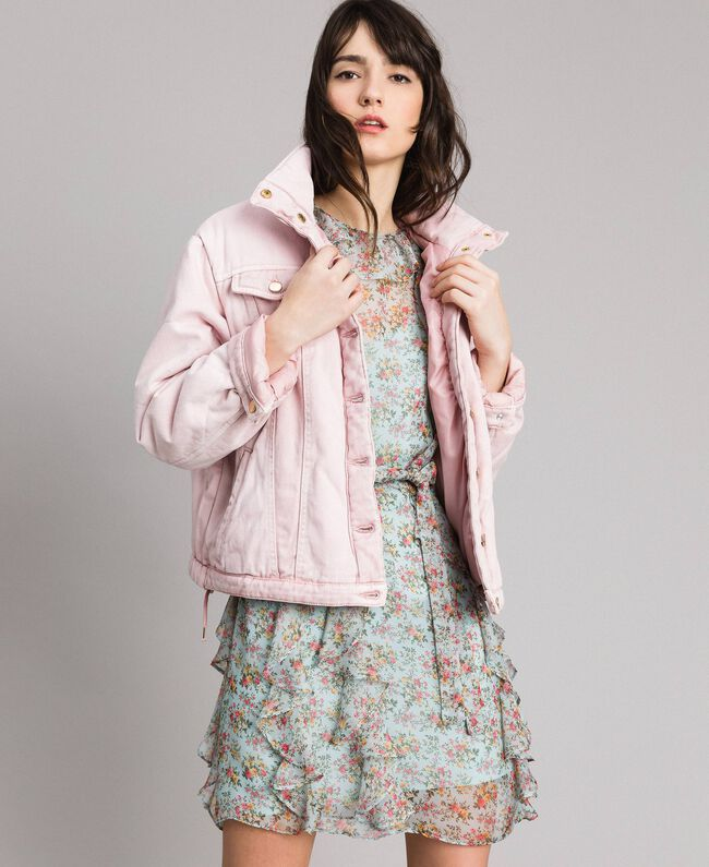 Padded denim jacket Pink Pearl Woman 191TP2340-01