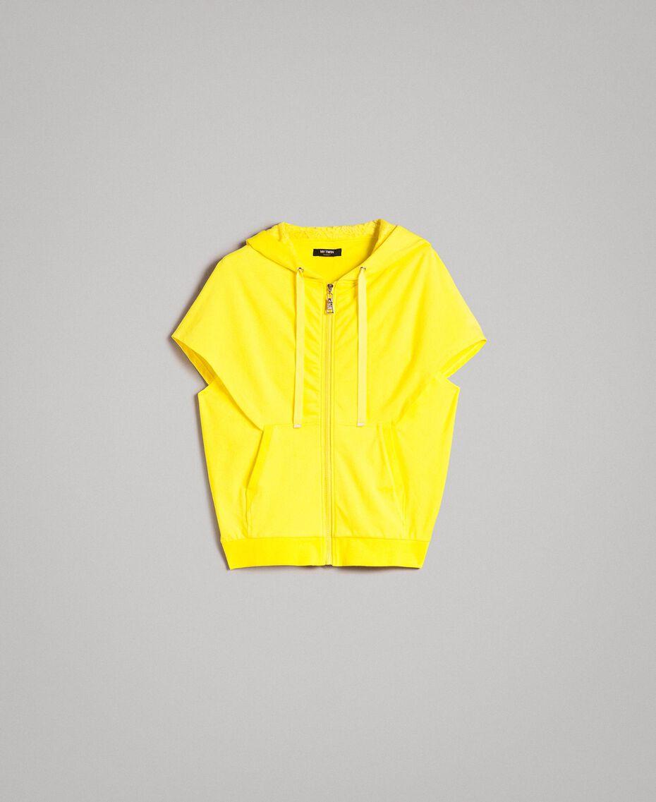 Sweatshirt mit Kapuze und Reißverschluss Neongelb Frau 191MT2342-0S