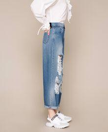 Jeans loose fit con rotture Denim Blue Donna 201MT2344-02