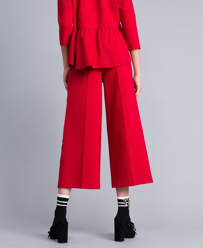 Milan stitch cropped trousers Venetian Red Woman PA821D-03
