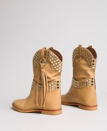 Leather ankle boots with studs Nougat Beige Woman 191TCP044-03