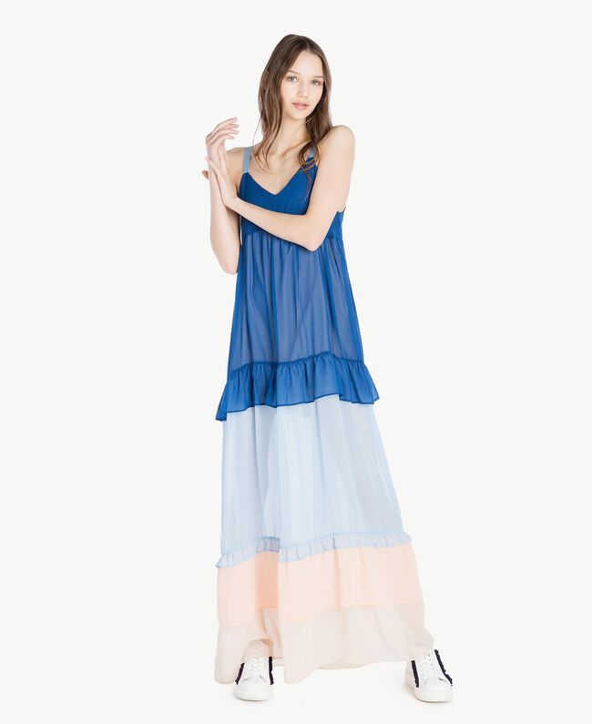 "Langes Kleid mit Volants Multicolor ""Navy Peony"" Frau SS82DD-01"