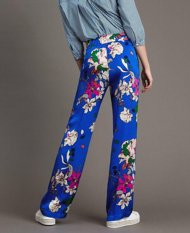 Floral satin palazzo trousers Wind Flower Cornflower Blue Print Woman 191TP2472-01