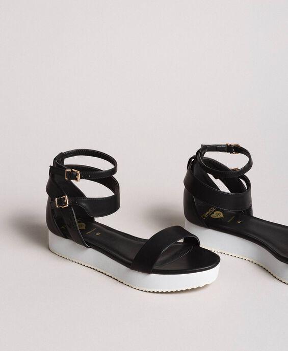 Platform sandals with strap