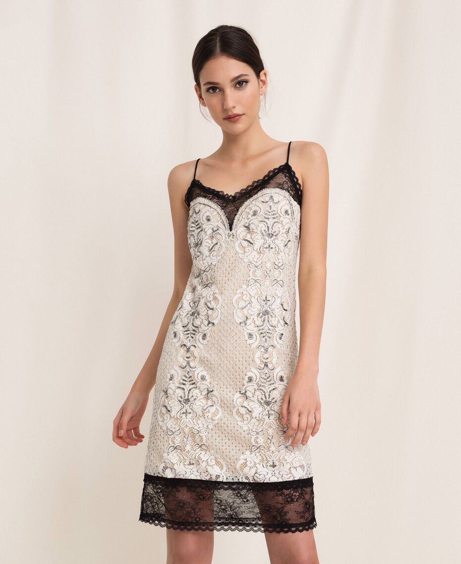 Lace slip dress with embroidery Ivory Woman 201TP2463-01