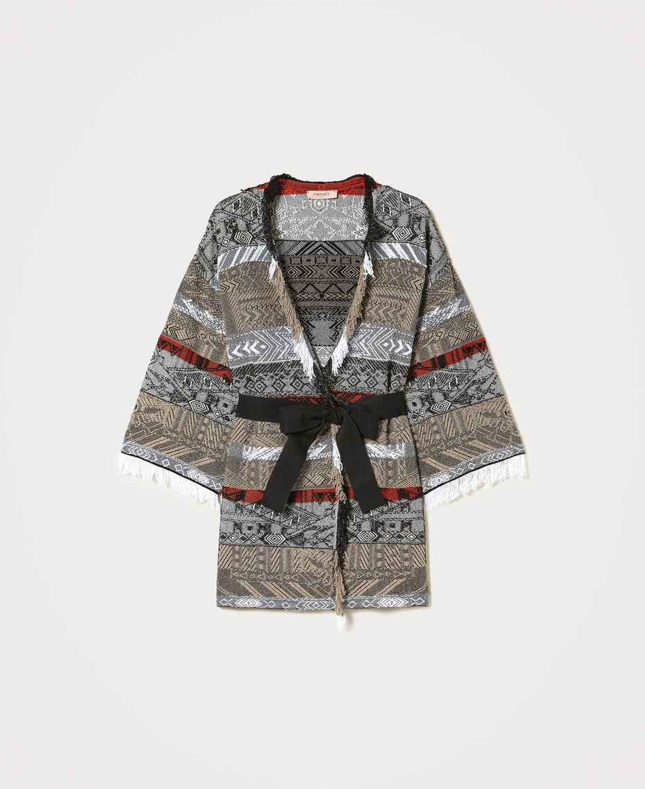 Jacquard maxi cardigan with fringes Multicolour Jacquard Textured Woman 211TT3271-0S