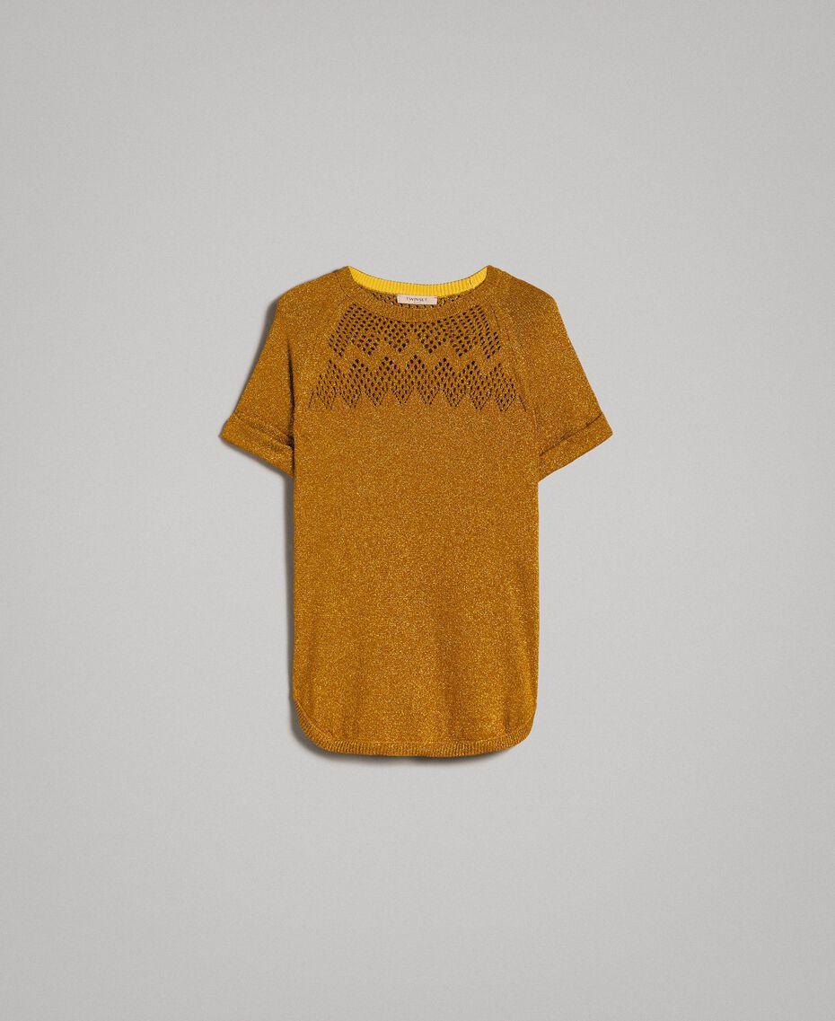 """Pullover aus Lurex mit Durchbruchmuster """"Golden Oak"""" Gold Lurex Frau 191TT3112-0S"""