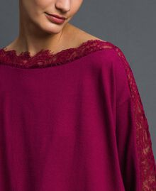 Maxi jumper with lace inlays Beet Red Woman 192TP3160-04