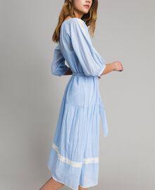 """Robe en voile ornée de dentelle et de broderies Bicolore Bleu Clair """"Atmosphère"""" / Écru Femme 191ST2113-03"""