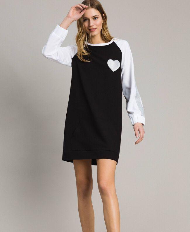 Two-tone gabardine dress Two-tone Black / Optical White Woman 191LL25DD-01