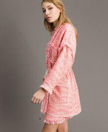 """Blouson oversize en tweed orné de franges Multicolore Bouclé Rose """"Rose Sauvage"""" Femme 191TP2522-02"""