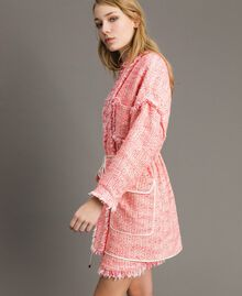 "Übergroße Jacke mit Fransen-Tweedmuster Multicolour ""Wild Rose"" Pink Bouclé Frau 191TP2522-02"