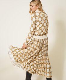 Jupe plissée avec imprimé de chaînes Imprimé Grande Chaîne Ivoire / Or Femme 202TT2212-03