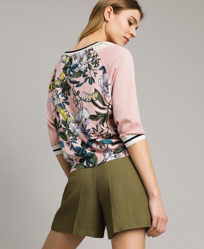 """Lurex-Pullover mit Blumenmuster Motiv Exotisch """"Soft Pink"""" Frau 191ST3122-04"""
